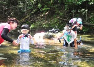 川の生き物観察に夢中になる参加者=28日、奄美市住用町
