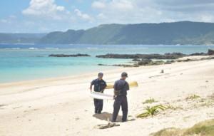 親子らが流された事故現場=29日、奄美市笠利町用安の用安海岸