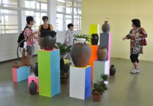 8組の作家が島の自然や文化を素材に出品している「徳之島アートプロジェクト」=26日、伊仙町