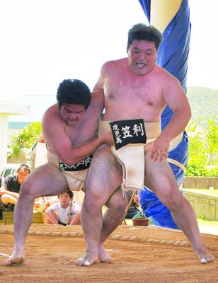 相撲団体一般1部の優勝に貢献した瀬戸内・緒方(左)の個人戦初戦。相手は笠利の栄=13日、笠利町太陽が丘相撲場
