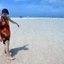 連日多くの人でにぎわっている百合ヶ浜=13日、与論町・大金久海岸の沖合