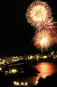 色とりどりの大輪の花が夜空を彩った奄美まつり花火大会=4日、奄美市名瀬