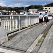 本年度中の補修を計画している奄美市名瀬浜里―平松間の出浜橋=21日