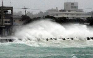 台風接近に伴う激しい風を受けて岸壁に押し寄せる高波=8日午後4時50分ごろ、喜界町湾漁港