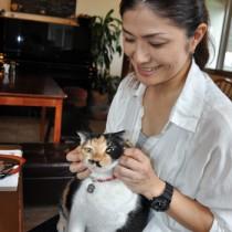久野さんと愛猫のハナコ(メス、推定8歳)=23日、奄美市名瀬