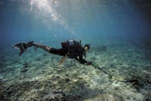 海底遺跡を探査する調査員=宇検村