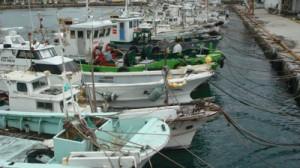 台風接近に備え、ロープで係留された船舶=10日、奄美市名瀬