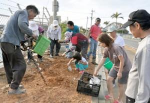 ユリの球根植え付けに汗を流す参加者=25日、和泊町国頭