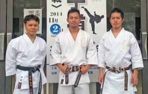 20連覇を果たした心道館の田原淳哉、能勢太志、森永健人(左から)=提供写真