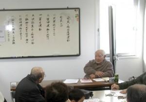 復帰運動、自衛隊配備問題で講話した大勝さん=7日、神戸市