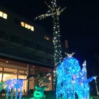 冬の夜空を彩るヤギやトナカイのイルミネーション=18日、奄美市名瀬の奄美山羊島ホテル