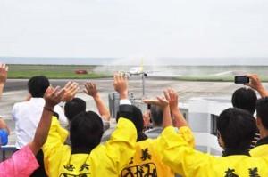 7月就航のバニラ・エア一番機を出迎える奄美大島の観光関係者=2014年7月、奄美空港