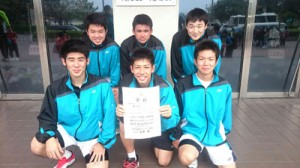 高校男子の部で3位に入った大島チーム=12日、鹿児島市(提供写真)