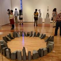 立体作品13点が並ぶ作品展=19日、奄美市の田中一村記念美術館