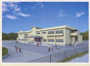 来年秋の完成を見込む「龍郷町生涯学習センター」(仮称)の完成予想図