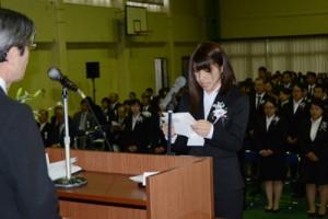 87人が気持ちを新たにした奄美看護福祉専門学校入学式=11日、奄美市
