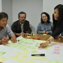 「まち歩き」をテーマにツアープログラムのアイデアを話し合った参加者ら=28日、天城町