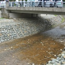 災害対策事業の工事現場を視察した合同防災点検=25日、奄美市名瀬小宿の大川水系