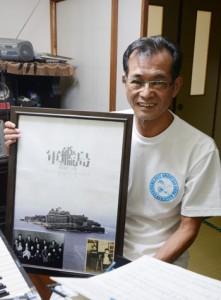 軍艦島の世界文化遺産登録を喜ぶ益田さん=奄美市名瀬