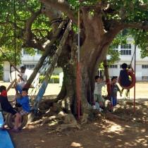 休校中の須子茂小学校でキャンプをしている「うみんちゅきっず」の子どもたち=28日、瀬戸内町