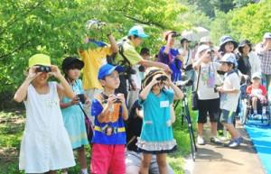野鳥の観察を楽しむ児童ら=10日、大和村の奄美野生生物保護センター散策道