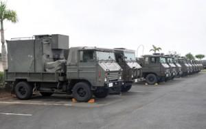演習参加のため奄美大島入りした自衛隊車両=23日、奄美市笠利町の太陽が丘総合運動公園