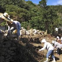 サンゴの石垣を積む住民=6日、瀬戸内町の与路島(保護組合提供)