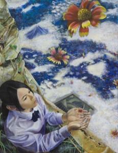 県高校美術展で準大賞に選ばれた時本茂花さんの洋画「昇華」