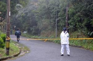 山田さんの遺体が遺棄されていた現場付近=23日午後、奄美市名瀬伊津部勝