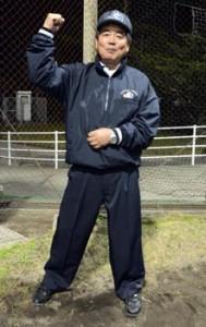 日本ソフトボール協会表彰を受けた濱地さん。最上級の第1種公認審判員としてグラウンドに立ち続けている=14日、奄美市の名瀬運動公園ソフトボール場