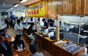 店舗内に飲食スペースを新設した鮮魚直売所「海力」=7日、瀬戸内町古仁屋の海の駅