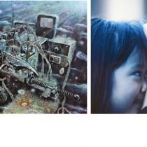 市美展賞を受賞した美術・平野さんの「トリックスター」、写真・中さんの「愛念」、書道・濵﨑さんの「嶽陽晩景『張均』」(左から)