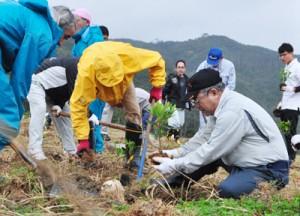 シャリンバイの苗木を植えた植樹祭=18日、宇検村湯湾の赤土山