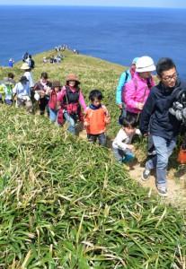 美しい景色を眺めながらさわやかな汗を流した宮古崎つつじウォークの参加者たち=13日、大和村国直の宮古崎