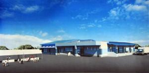 平時は給食センターとして整備する防災関連施設の完成予想図(上)=喜界町提供=と、赤連地区の建設予定地