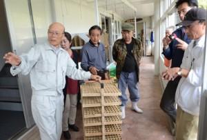 カイコの飼育方法をアドバイスする齋藤さん(左)=21日、龍郷町