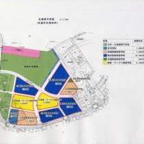 観光関連など各施設の立地が決まった名瀬埋め立て事業の平面図