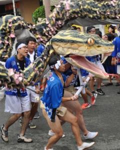 パレード1部のトップバッターを務めた市役所ハブ隊=7日、奄美市名瀬の支庁通り