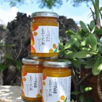 三越伊勢丹ブランド商品として発売開始された東マンゴー園製造のマンゴージャム=15日、和泊町出花