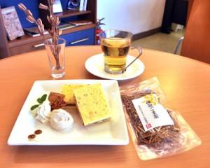 白ゴマを利用したスポンジケーキとお茶の「GOMAプレート」