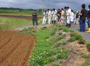 赤土流出防止に向けた取り組みを確認した合同パトロール=13日、伊仙町