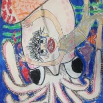 第10管区海上保安本部長賞を受賞した泉優音さんの図画作品(第10管区海上保安本部提供)