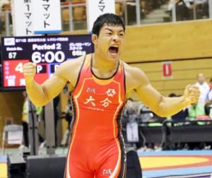 国体レスリングで3位入賞した日本文理大学付属高校の西静海(赤木名中出身)=提供写真