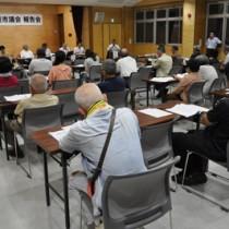 陸自や所管事務調査などさまざまな質問などが出た名瀬地区の報告会=20日夜、AiAiひろば