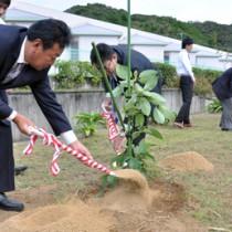町の発展を願い、アボカドの苗木を植えた植樹式典=14日、瀬戸内町立図書館・郷土館