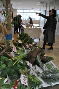 地場産農産物を使ったヘルシー料理の展示もあった産業・食の文化祭=23日、伊仙町