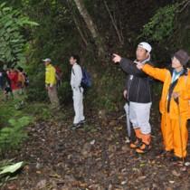 コース候補地を歩いて確認する出席者ら=24日、奄美市住用町