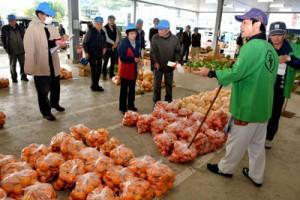 ポンカンなどの果樹がずらりと並んだ名瀬中央青果の初競り=5日、奄美市名瀬