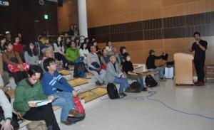 5人の研究者が奄美の自然や歴史文化について考察した公開セミナー=15日、瀬戸内町諸鈍