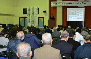 小湊フワガネク遺跡について国内外の研究者らが意見を交わしたシンポジウム=21日、奄美市名瀬